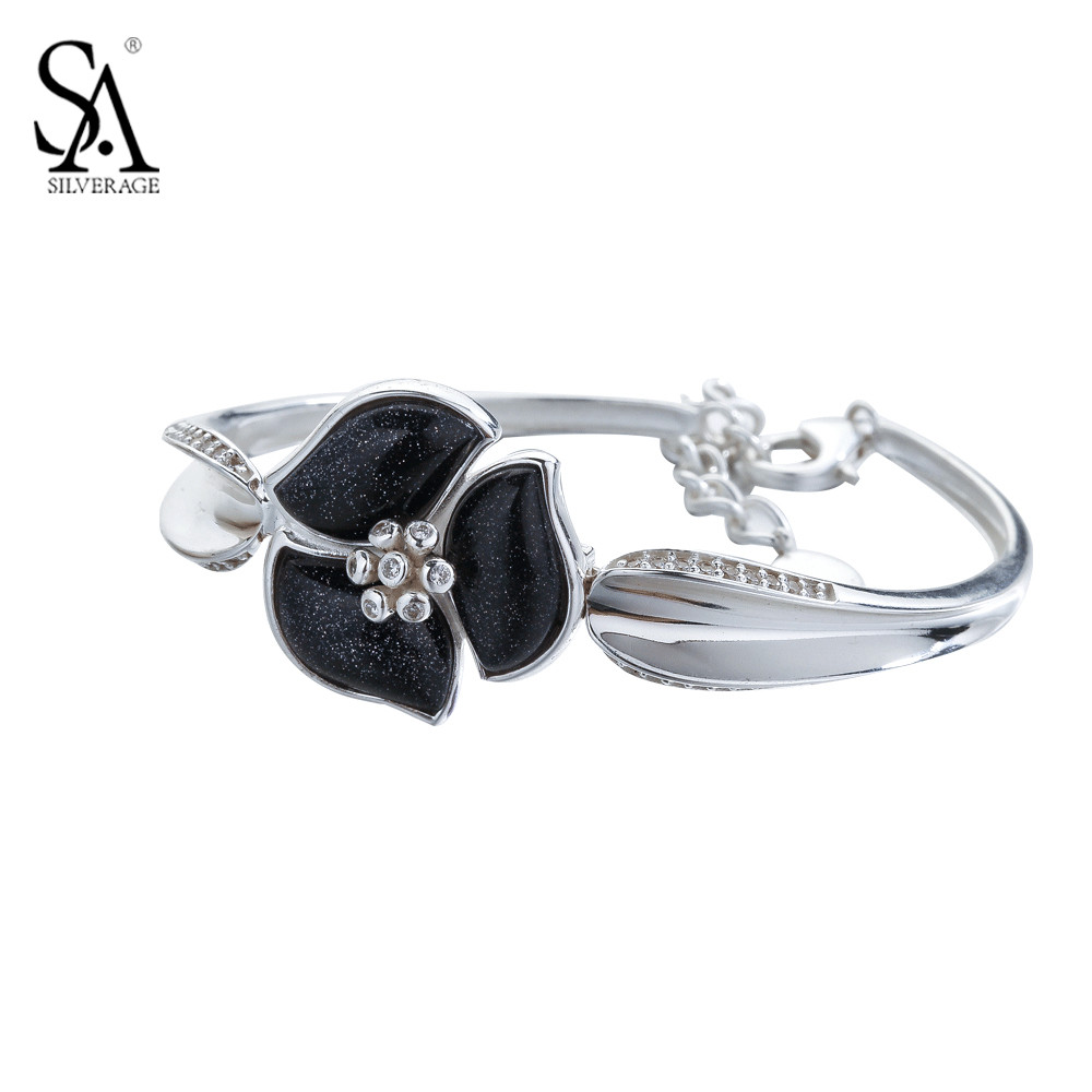 SA SILVERAGE 925 Sterling Silver Bangle For Women Black Stone Flower Bangle Bracelet Pure Silver Jewelry Party Gift popular good quality gift silver jewelry bangle pink love heart famous crystals 925 pure silver bangle