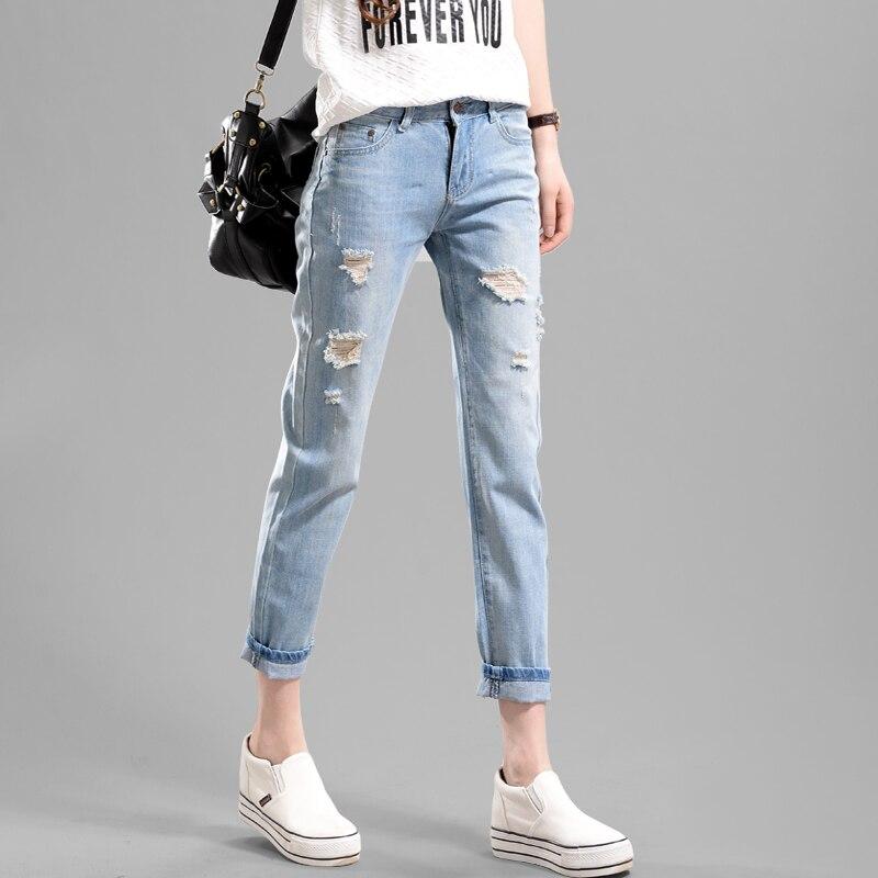 цены  Loose loose hole jeans women nine points pants bf beggars Korean harem pants 2017 spring and summer new Korean version
