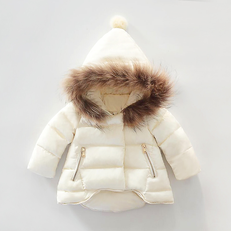 1-3Y girls down coat 2016 new fur hooded zip short in front long warm sweet princess winter coat for girls small children