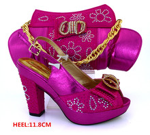 New Arrival Fuchsia Color Matching Shoes and Bag for Wedding African Shoes and Bag Set for Party In Women  MM1019