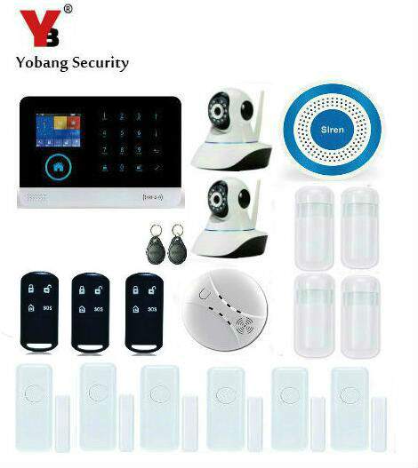 Yobang Security WCDMA/CDMA Home Security 3G Alarm System RFID Tags Wireless WIFI APP SMS Controlled Alarm With 2pcs HD IP Camera