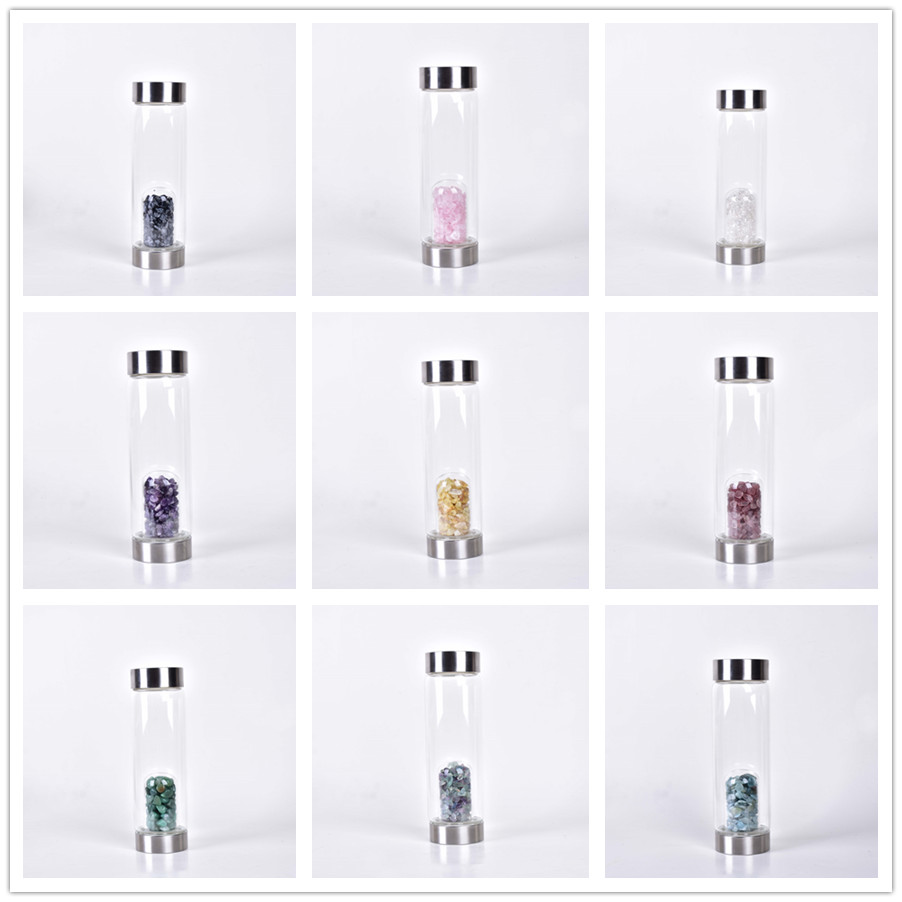 New Product Crystal Quartz Bottle Gemstone Glass water bottle Hydrotherapy Health cup Gem water bottle Energy bottle for gifts 1