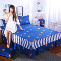 1pcs 100% cotton solid bed skirt set bed skirt bed cover bedspread bed sheet twin full queen gray purple