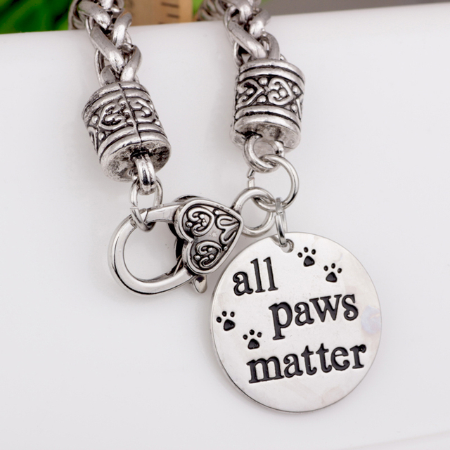 Ancient Silver Basket Chain All Paws Matter Charm Bracelet Memory For Women Jewelry Wristbands