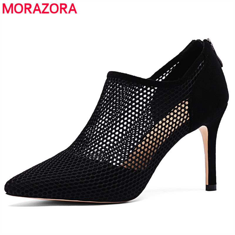 MORAZORA 2019 new arrival ankle boots for women suede leather sexy stiletto high heels boots summer office ladies dress shoes