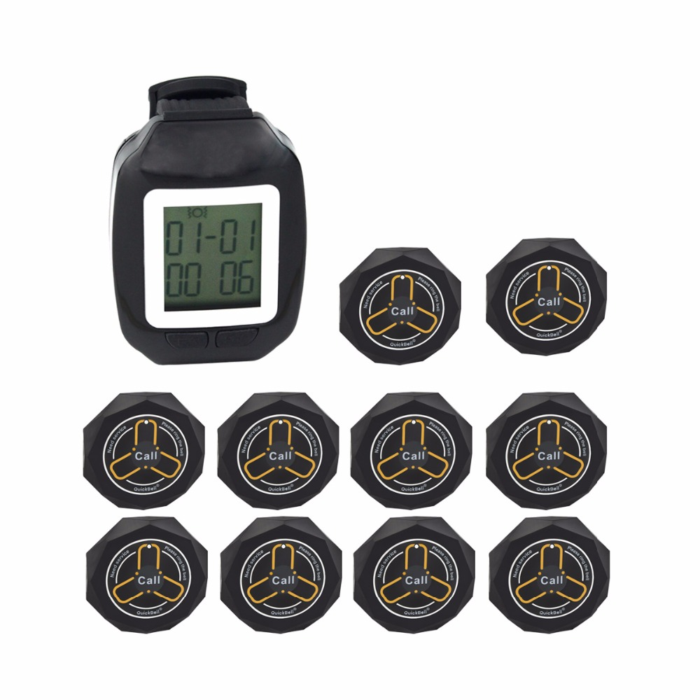 Restaurant Wireless Pager Watch Calling System Receiver 433.92MHz Coaster Waiting Pager + 10pcs Call Transmitter Button F3123A 433 92mhz wireless restaurant calling system 3pcs watch receiver host 15pcs call transmitter button pager restaurant f3229a
