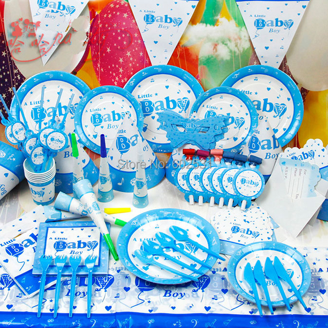 Baby Boy Cartoon Birthday Party Set Event Decorations Cup Greeting