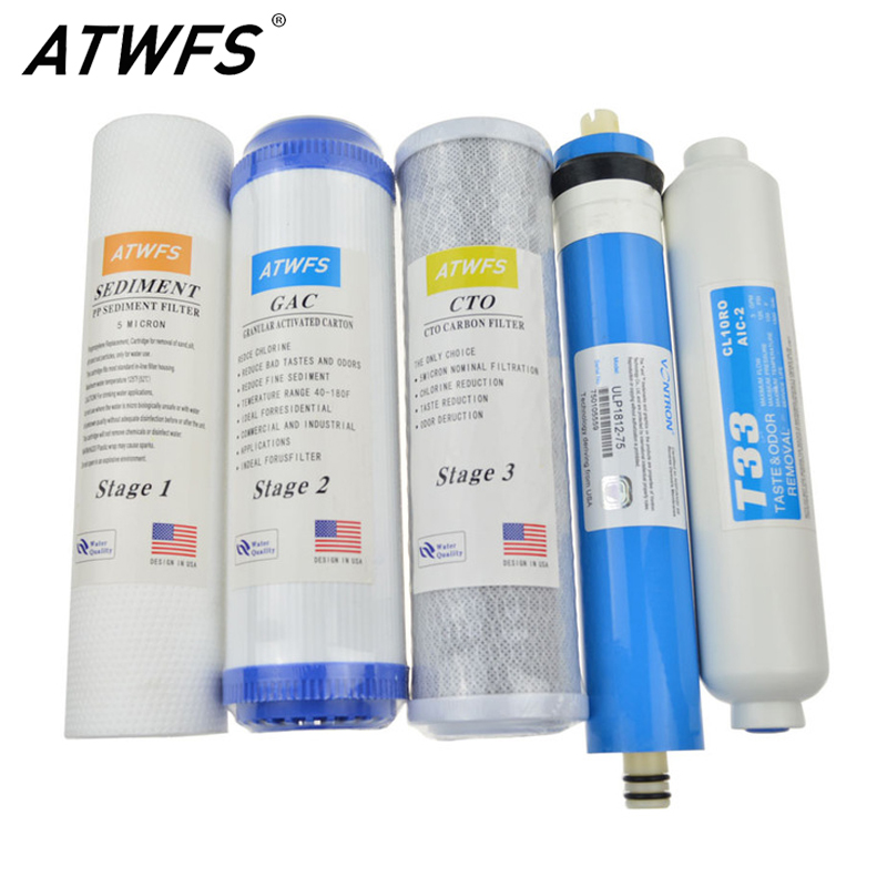 ATWFS New Water Purifier 5 Stage Filter Cartridge 75 gpd RO Membrane Reverse Osmosis System Water Filters For Household 2 pcs water filter parts 1 4 tank ball valve for tube quick connect switch water purifier ro reverse osmosis system