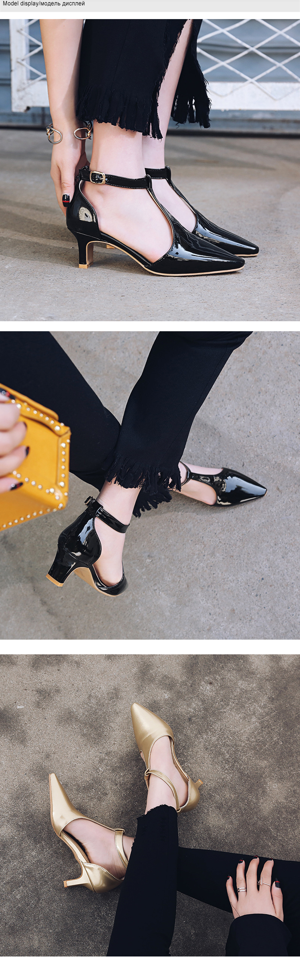 Shoes Woman High Heels Mary Jane Pointed Toe Women Pumps Brand Ankle Strap Summer Shoes Thin Heel Black Plus Size New Arrvial DE 4