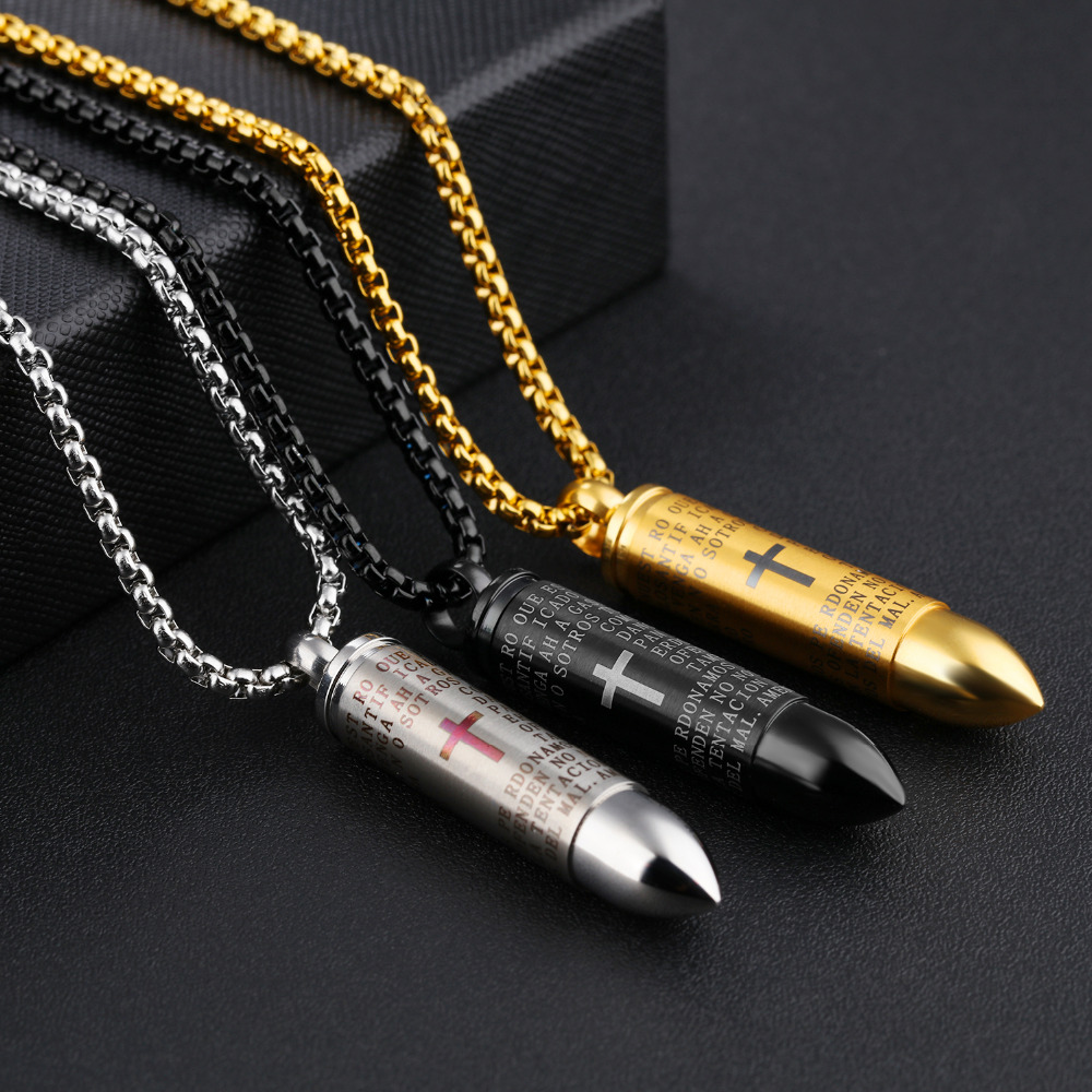Punk Bullet Men's Pendant Necklaces Red Cross & Bible In Spanish Box Link Chain God Bless You Birthday Gift 5