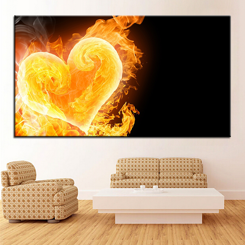 Large size Printing Oil Painting love fuels the heart Wall ...