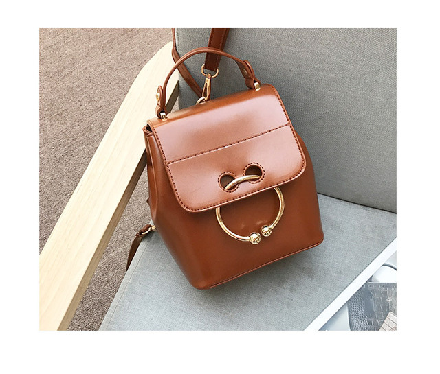 2017 New Women Shoulder Bags Female Quality PU Leather With Circle Metal Pig Nose Small Bucket Bags