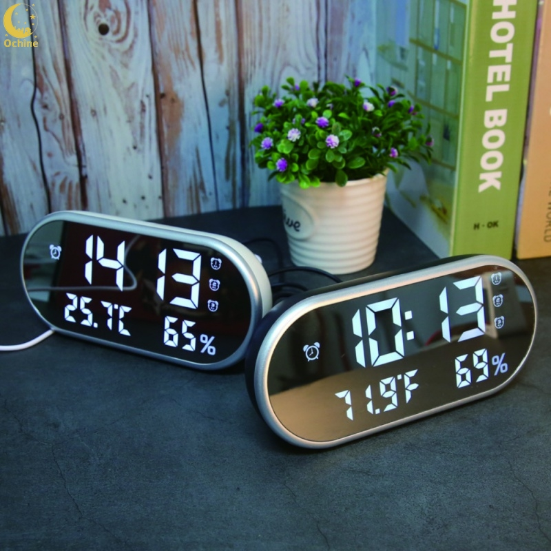 Ochine  Multi-Function High-Definition LED Thermometer And Hygrometer Mirror Alarm Clock White Light Gift For Children
