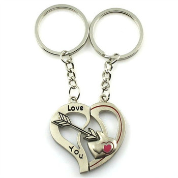 Arrow Double Heart Metal Keychain For Women Charm Couple Key Chains K1651 золотые серьги по уху