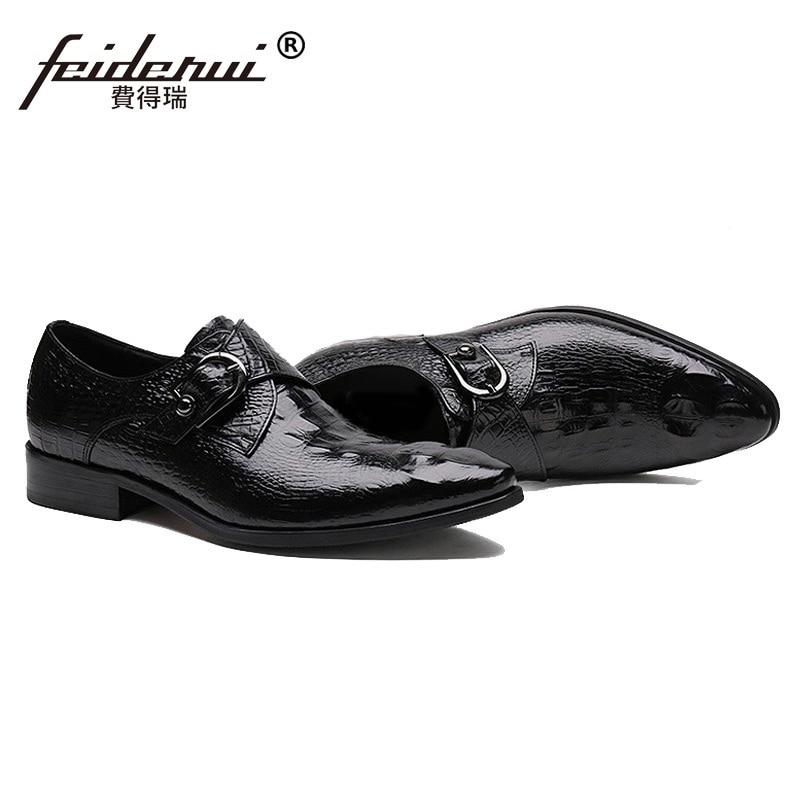 Cocodrilo Correa Zh53 Punta Cuero Zapatos Hombre Marca marrón Hombres Italiana Oxfords Llegada Negro Nupciales Toe Monje Nueva Del Auténtico Vestido Pisos CtzqUw