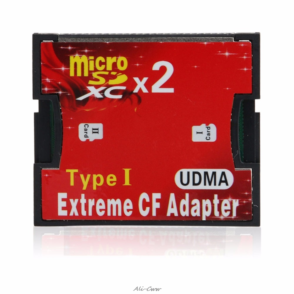Micro SD TF SDHC 2 Port Slot To Type I Compact Flash Card CF Reader Adapter CI