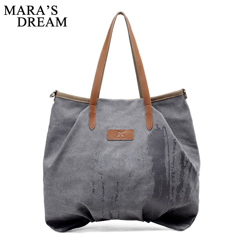 Maras Dream 2018 Canvas Women Handbag Casual Large Capacity Hobos Bag Hot Female Totes Bolsas Trapeze Ruched Solid Shoulder Bag ...