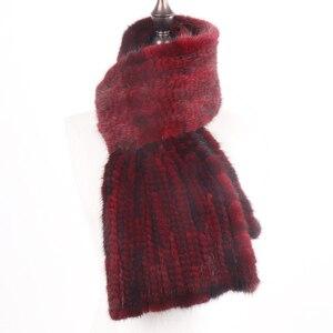 Image 4 - 2020 chegada nova inverno outono senhora moda vison pele cachecol de malha real vison peles cachecóis 170x15cm quente elegante muffle de pele feminina