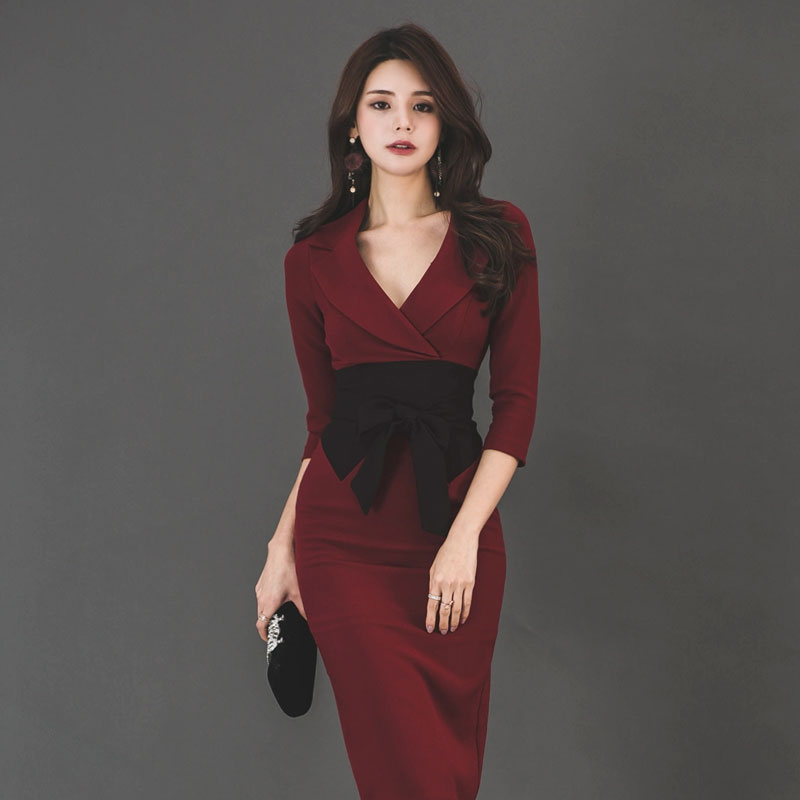 CINESSD Cotton Bag Hip Dress 2019 Women Autumn Notched Long Sleeve knee length Bow Slim Waist Dress Vestidos Plus Size in Dresses from Women 39 s Clothing
