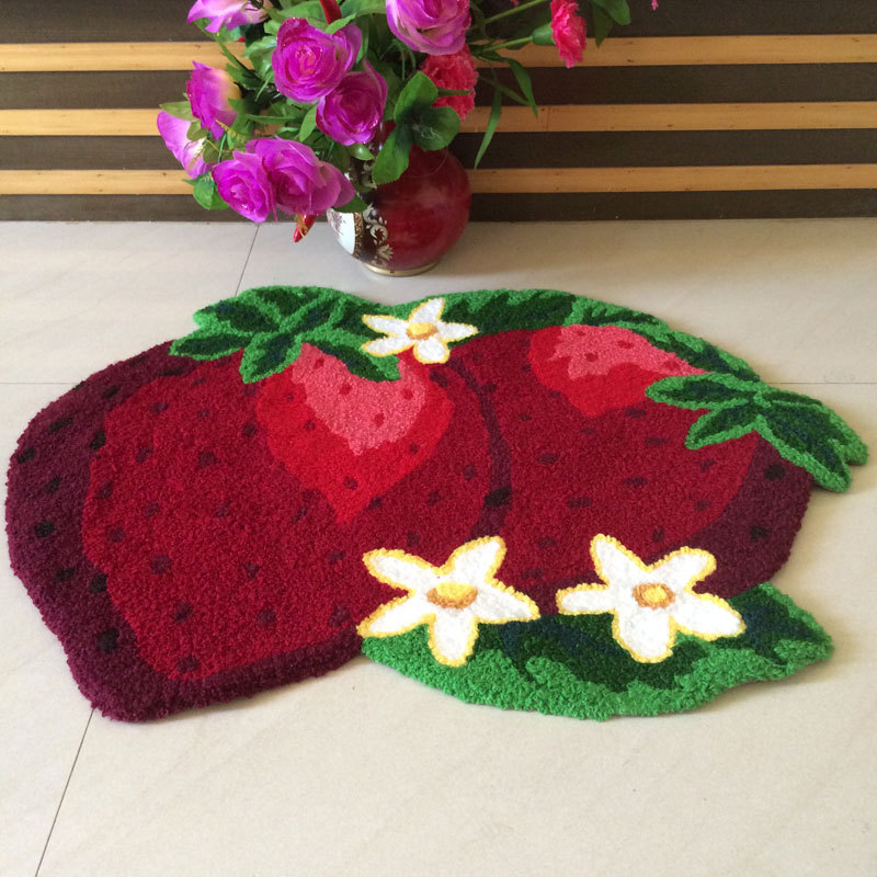 Fruit Rug Fruit Kitchen Rugs Strawberry/Apple High Quality Handmade Floor  Mats Area Rug For