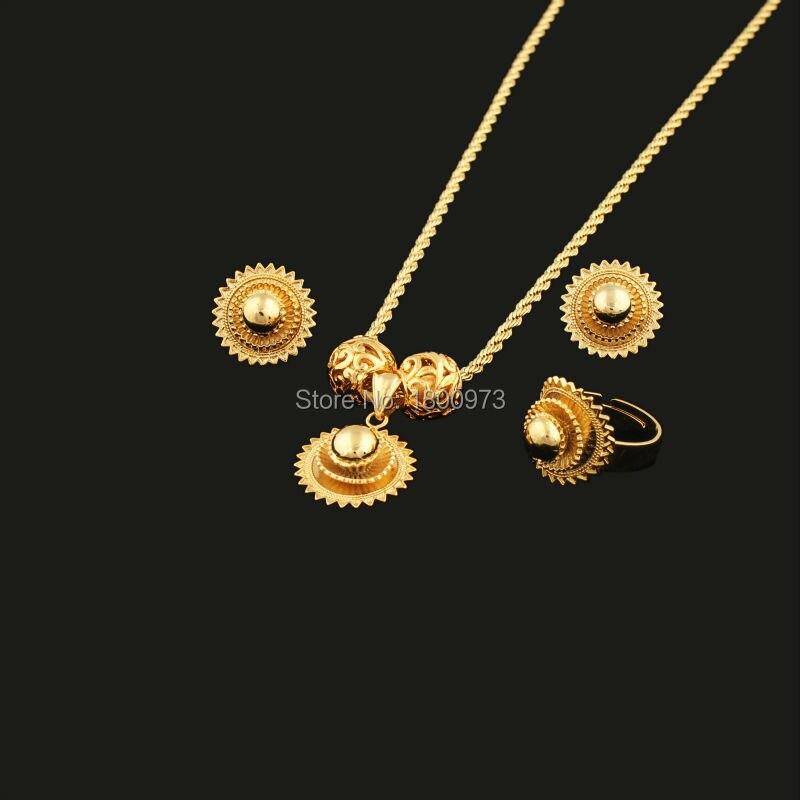 03395e0b3387 Nueva llegada DIY etíope habesha jewelry18k oro color joyería nupcial  joyería temperamento boda Juegos de joyería para las mujeres