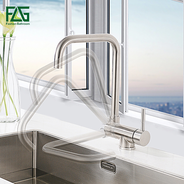 FLG Flexible Kitchen Faucet Single Handle 304 Stainless Steel ...