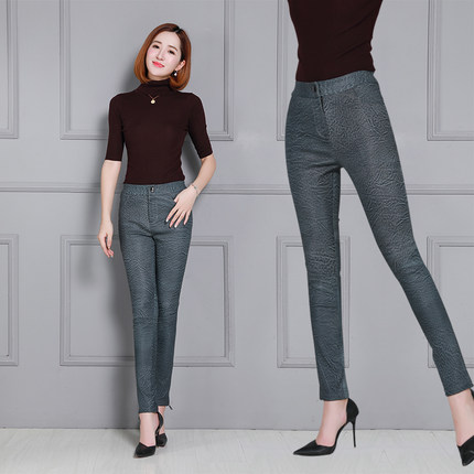 2019 Women High Waist Slim Sheepskin Print Pants KP19