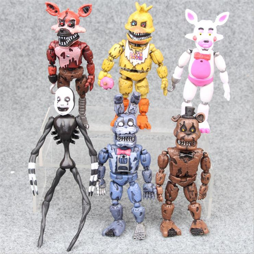 6 pcs/set Five Nights At Freddys Action Figure FNAF Bonnie Foxy Freddy Fazbear Bear Anime Kids PVC Self-assembling Toys gift