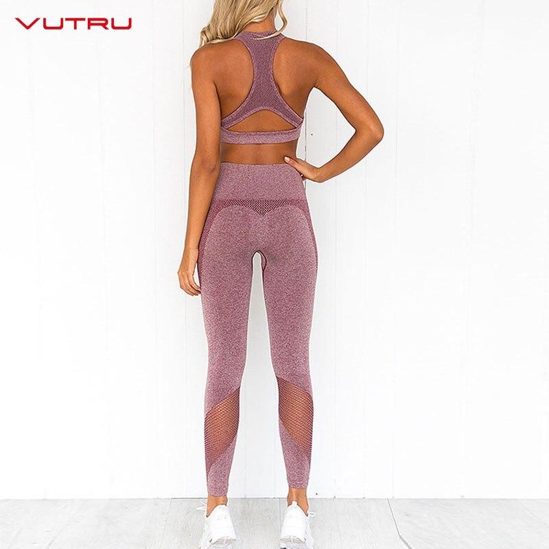 ★  Vutru Ombre Yoga Брюки 2 Шт. Набор Женщин Yoga Набор Энергии Бесшовные Леггинсы Талии Тренировки Тре ✔
