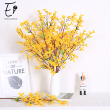 Erxiaobao 10 Pieces Artificial Flowers with Green Leaf Yellow Winter Jasmine Table Home Wedding Decor Silk Fake Flower Gift