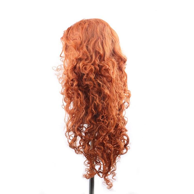 WoodFestival anime peruker för kvinna lång orange peruk vågig - Syntetiskt hår - Foto 2