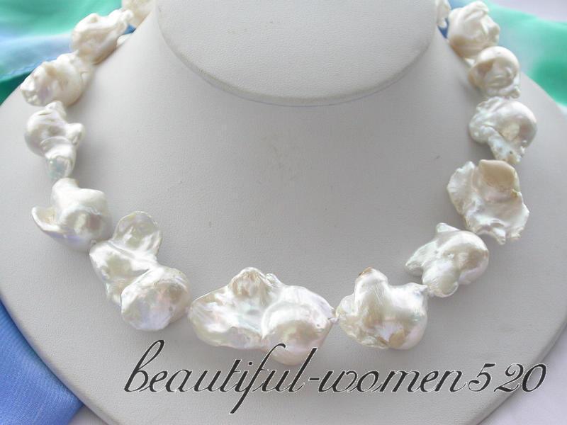 Z3133 17 35mm white baroque keshi reborn pearl necklaceZ3133 17 35mm white baroque keshi reborn pearl necklace
