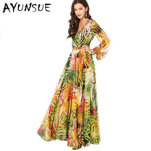 0de51447c6d 2018 New Summer Dress women Europe and American Sundress V-neck Boho Dess Tropical  Print Chiffon Long Sleeve Maxi Dress WD0103