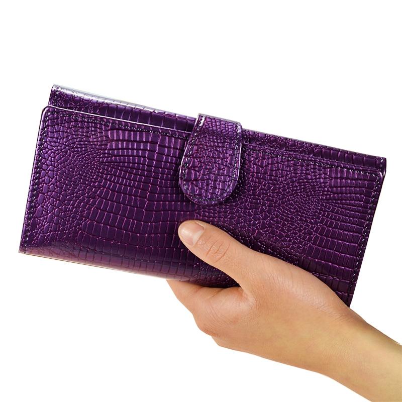 Dreamlizer 대용량 숙녀 파티 패션 롱 지갑 특허 가죽 여성용 지갑 여성용 클러치 백 캐주얼 카드 홀더 지갑