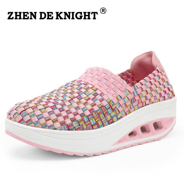 Nueva Primavera 100% hecho a mano de alta calidad de la armadura de oscilación zapatos de Las Mujeres cuña adelgaza boat shoes casual slip on Señora trabajo diario calzado