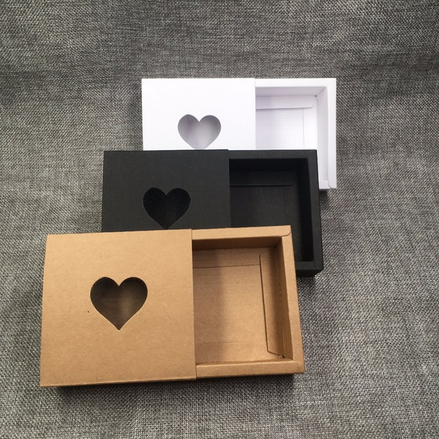 50pcs Kraft Drawer Box with PVC Heart Window for Gift\Handmade Soap\Crafts\Jewelry\Macarons Packing Brown Paper Storage Boxes