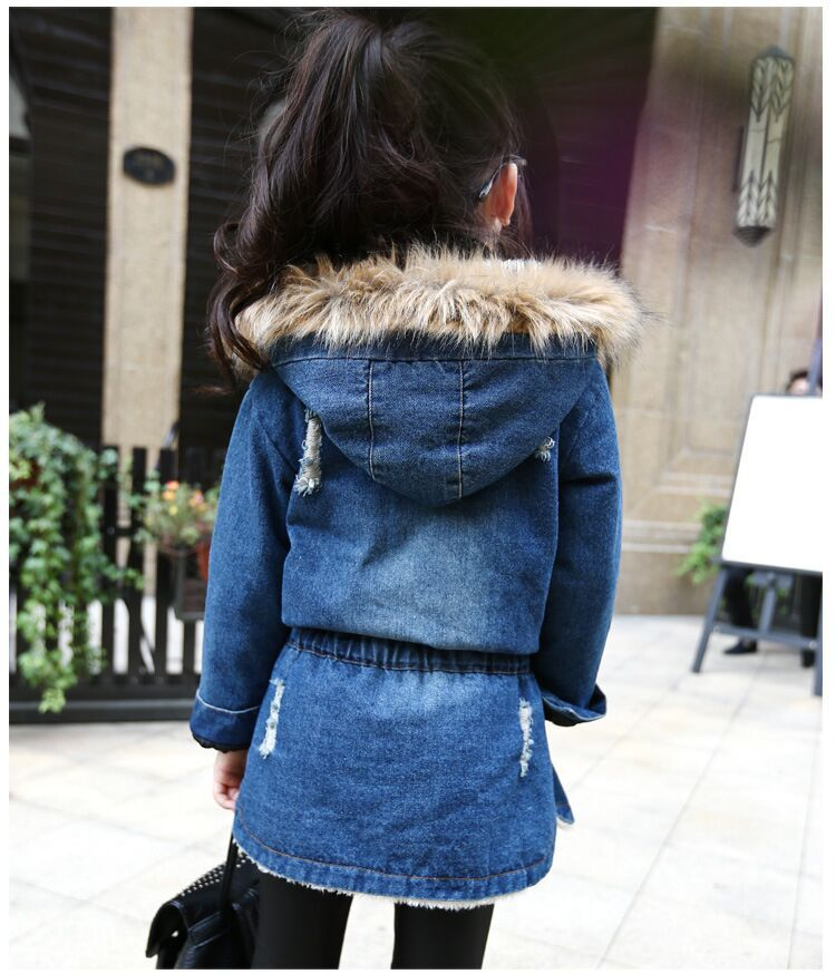 1a877f658cf90 2018 New winter Kids girls denim jacket children plus thick velvet jacket  big virgin long warm coat for cold winter-in Jackets   Coats from Mother    Kids on ...
