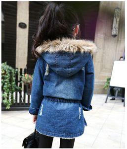 Image 3 - 2020 New winter Kids girls denim jacket children plus thick velvet jacket big virgin long warm coat for cold winter