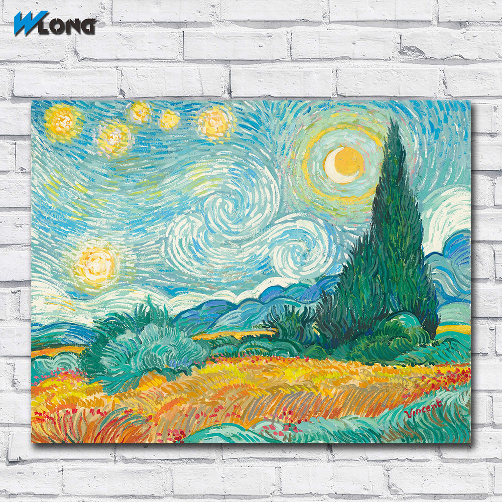 Wlong Home Decor Wall Art Starry Night With Wheat Field Oil Painting On Canvas Picture Wall Paintings for Living Room No Frames