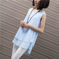 Yichaoyiliang Simple Solid Color Women Ruffle Top Street Style Summer Peplum Sleeveless Shirt
