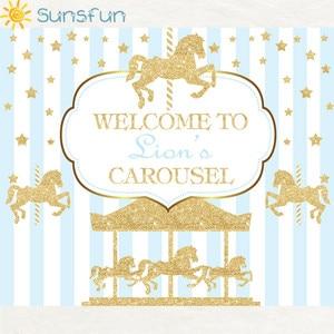 Image 5 - Sunsfun 7x5ft ויניל צילום רקע קרוסלת Unicorn בלון יילוד יום הולדת מסיבת מותאם אישית תמונה רקע 220x150cm