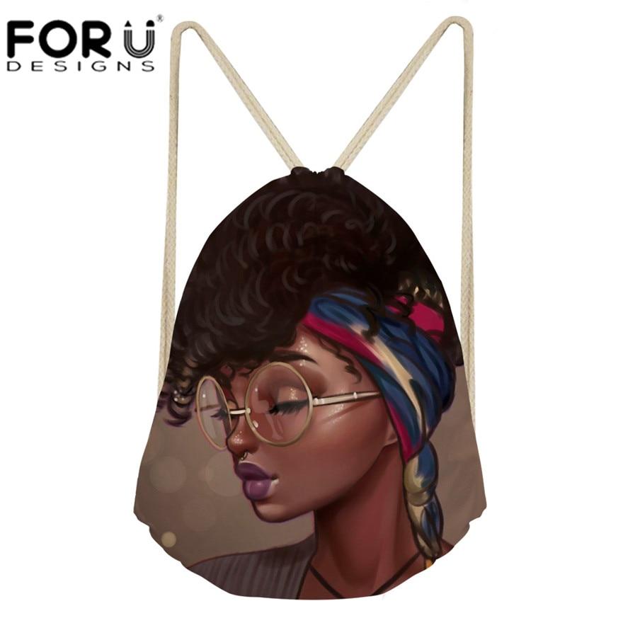 Forudesigns Schwarz Kunst Afrikanische Mädchen Druck Kordelzug Taschen Frauen Ethnischen Stil Strand Schulter Tasche Damen Kordelzug Bagpack 2019