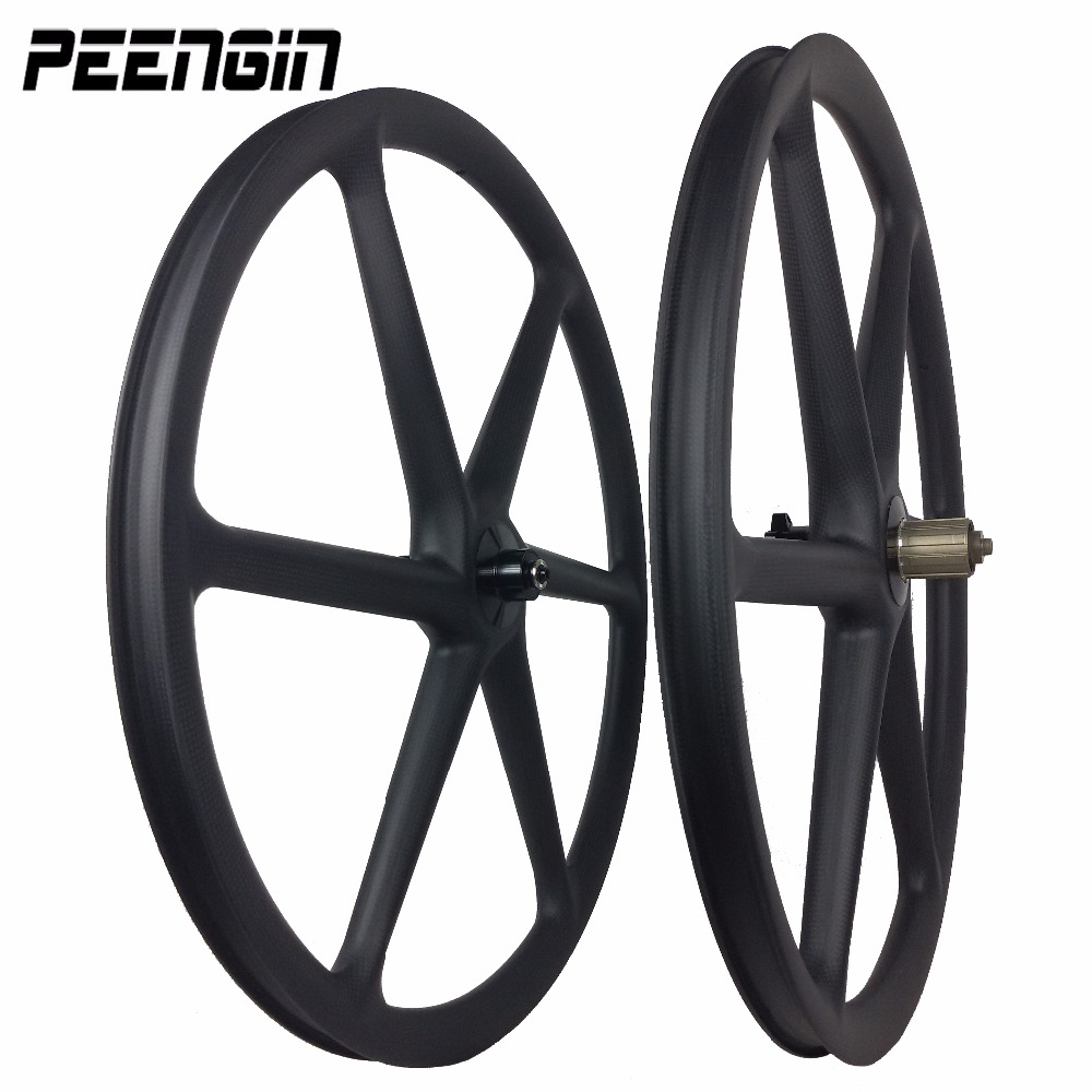 DIY carbon 3k weave 6 spokes clincher wheels mountain bike six spoke wheelset 27.5 inch MTB bike 26er/650B matt/Glossy finishing
