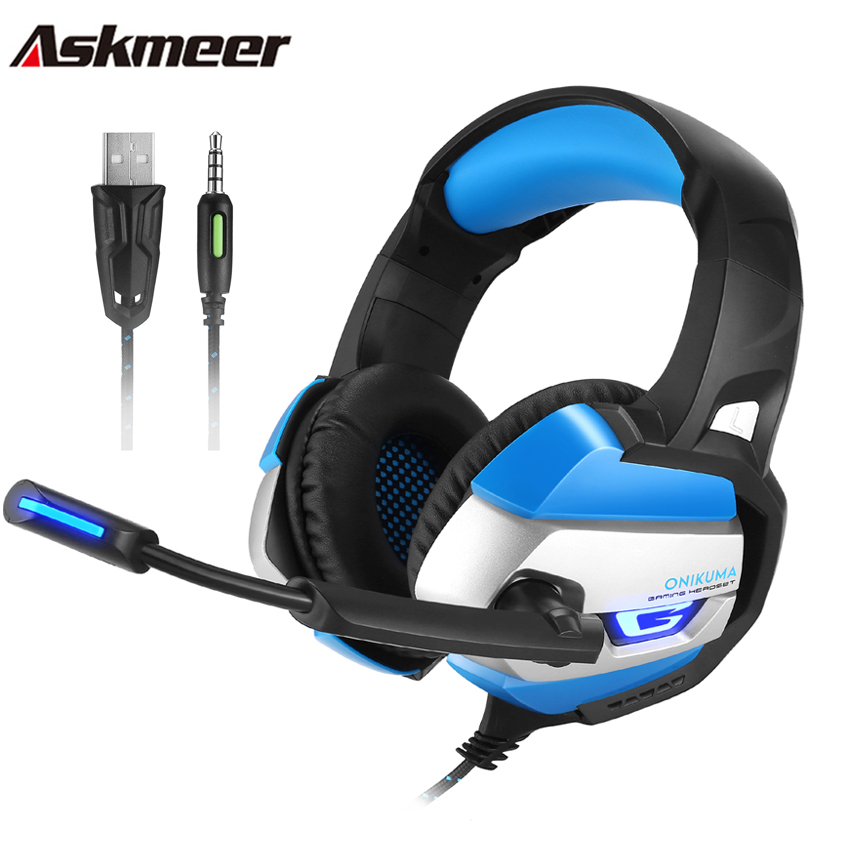Askmeer Gaming Headset Gamer Best ecouteur Stereo Deep Bass PC Headphones with Microphone for PS4 New Xbox One fone de ouvido kotion each g2000 gaming headset pc gamer headphones headphone for computer auriculares fone de ouvido with microphone led light