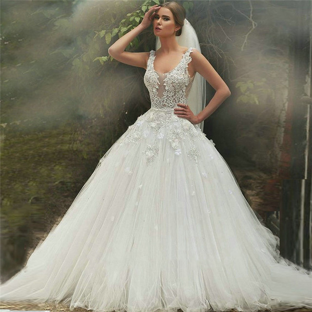 Luxury White lace Appliques Ball Gown Wedding Dresses 2015 See ...