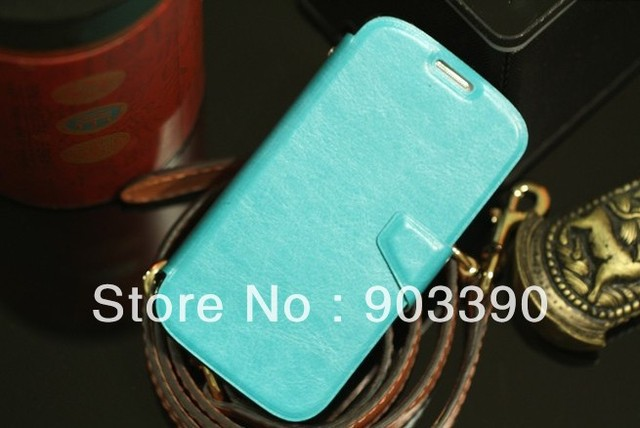 For Samsung Galaxy S4 I9500 Crazy horse Skin flip slim stander leather case cover with cards holster with DHL free shipping