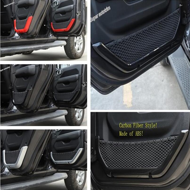Lapetus coloré intérieur porte boîte de rangement Net bandes couverture accessoires intérieur garniture ABS pour Jeep Wrangler JL 2/4 porte 2018 2019