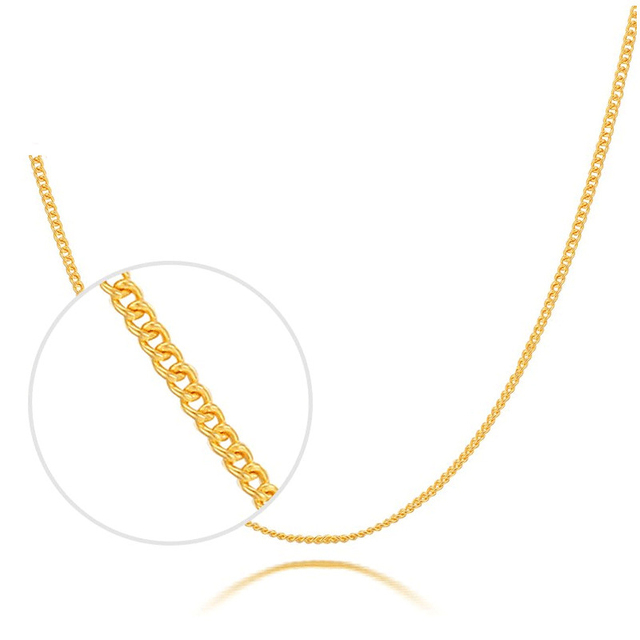 Solid Pure 999 24K Yellow Gold Necklace Women Curb Link Chain Necklace P6280 1