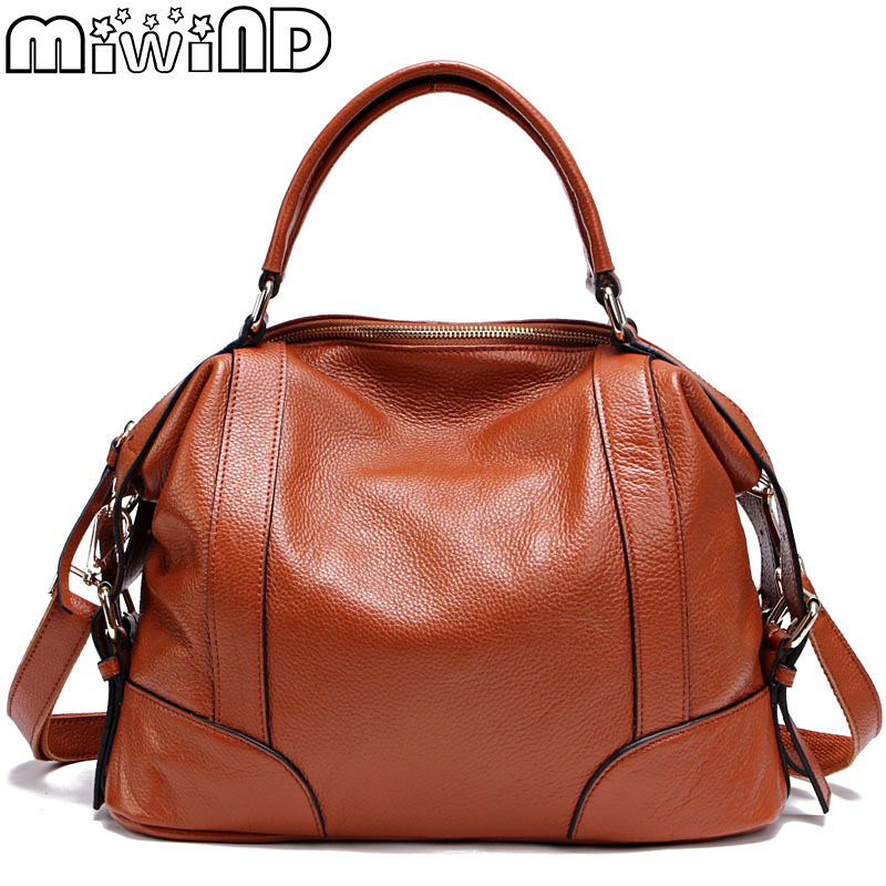 MIWIND 2017 New Women Leather Handbags Full Grain Cow Leather Totes Ladies Shoulder Bag European American Fashion High capacity 2017 autumn european and american fashion women s handbags high end atmosphere banquet tote bag dhl speedy shipping