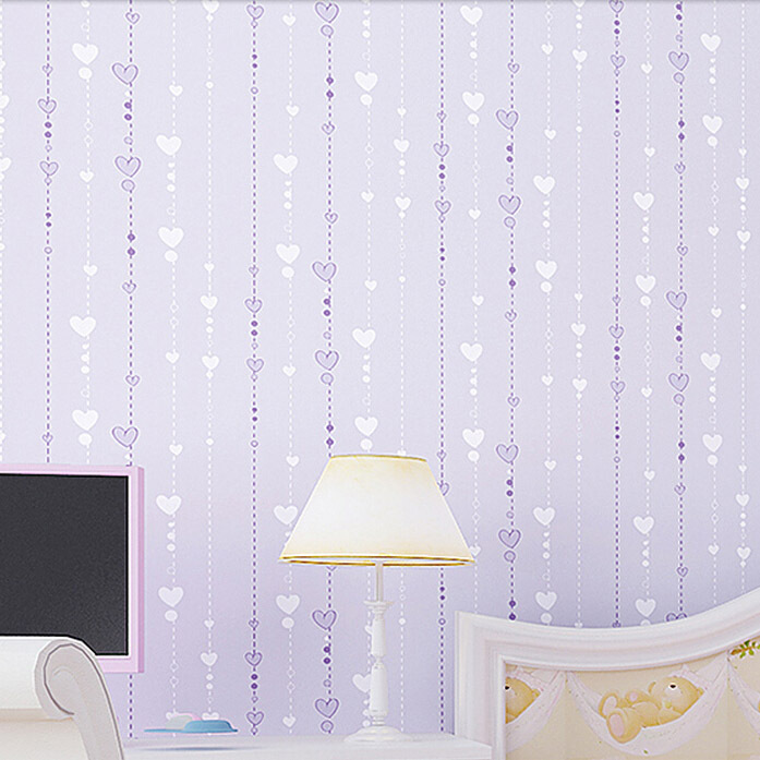 girls room wall decorative paper for 2014 new arrive striped heart wall paper with pink purple beige colors choice